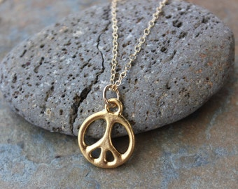 Simple Peace Sign necklace - 24k gold plated pewter charm on delicate 14k gold filled chain - free shipping in USA - minimalist