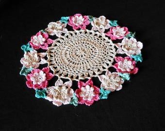 Cotton flower pattern crochet doily