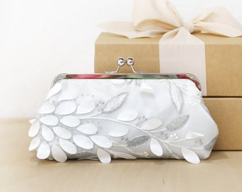 Ivory Silvery Grey Sequins Floral Clutch | wedding clutch, purse for Bride, Bridesmaid, Mothers, Floral Vines Leaves