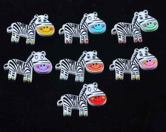 10 buttons zebras 2.7 cm - 2 holes-painted wood