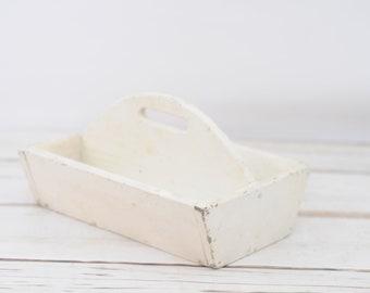 Vintage White Divided Wood Box Wood Tool Box Wood Handle Wood Tote