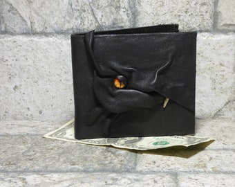 Dragon Leather Bi Fold Wallet Fantasy Magic The Gathering Harry Potter Game Of Thrones Fathers Day Gift Black 532