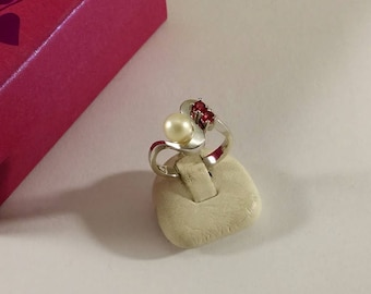 17.7 mm ring silver 835 Pearl Ruby noble vintage SR1065