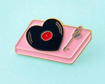 Heart shaped vinyl record turntable enamel pin