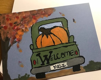 Welcome Fall Note Card by Vintage Rose WorkShop