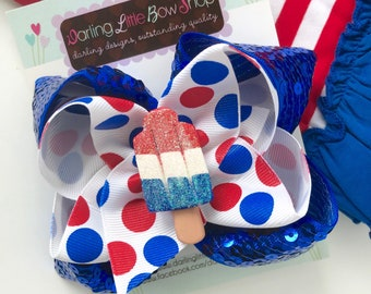 Bomb Pop bow, LIMITED Popsicle Bow in sparkly red, white and blue -- perfect for Summer -- double stacked bow