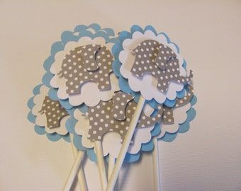 Light Blue, Gray Polka dot Elephant Toppers, Set of 12, elephant cupcake toppers, baby shower decorations