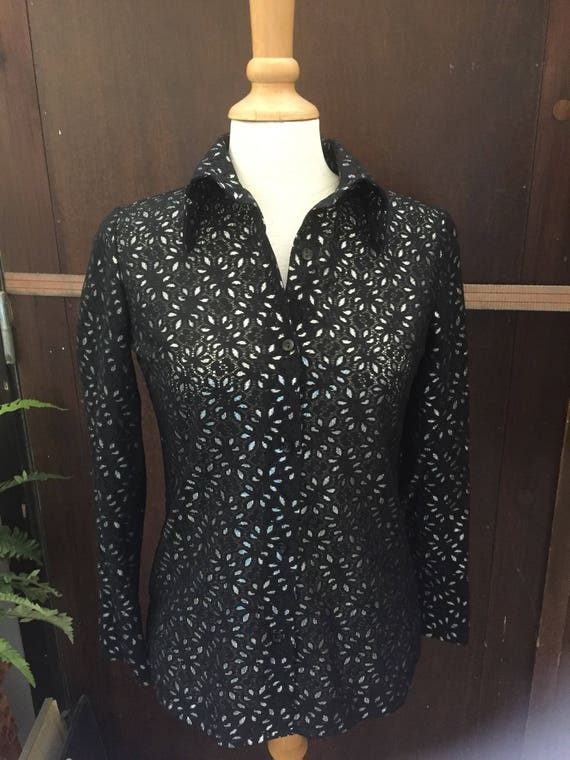 Ladies blouse/Office /day to night/secretary/top/Janstorp/islet/lace/blouse/silver/inlay/