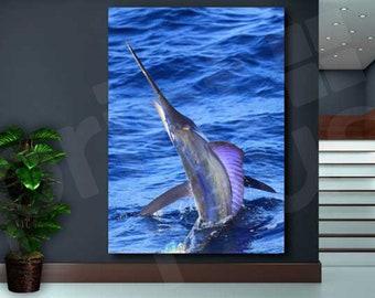 Striped Marlin Fish Canvas Art Poster Print Home Wall Decor