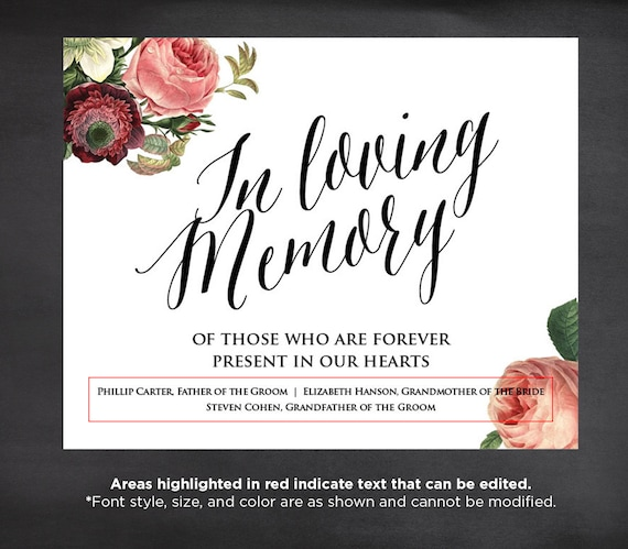 50% Off In Loving Memory Wedding Sign Template Editable