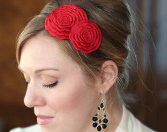 Christmas Red Headband for Women, Red Flower Headband