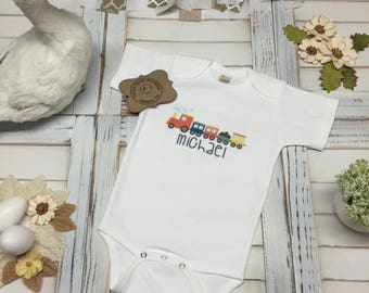 "Custom ""Name"" With Cute Train Design, Custom, Train, Bodysuit, T-Shirt, Super Cute, Baby Shower, Special Gift"