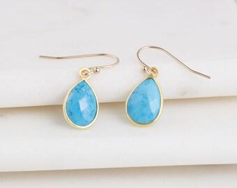 Gemstone Teardrop Earrings, Gemstone Drop Earrings, Gift for Her, Boho Drop Earrings, Dainty Earrings, Turquoise Gemstone Earrings