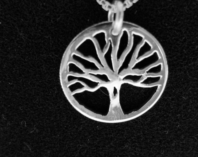 "Tree of Life necklace dime size w/  18"" sterling silver chain"