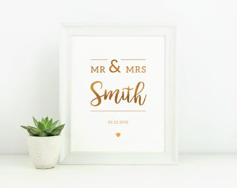 Mr & Mrs - Hand Crafted Foil Print