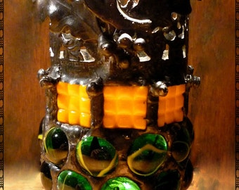 Autumn Moon Gothic Stained Glass Mosaic Halloween Luminaire Candle Holder