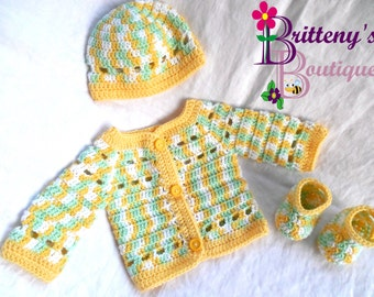 Baby Boy Yellow Sweater  Baby Boy Yellow Cardigan  Baby Boy Yellow Prince Charming Cardigan Sweater  Baby Boy Layette  03 Months Sized
