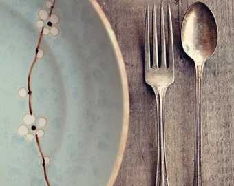 Fine Art Print, Table Setting Photo, Vintage Fork Spoon, Silverware Photo, Farm Table, Dining Room Art, Rustic Art, Cafe Art, Kitchen Art