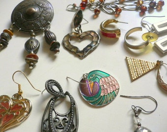 29 Vintage Earring Pieces, some are broken, a few matching pairs, most are single or broken, jewelry, altered art, steam punk, charms