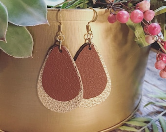 Brown and gold double leather earrings