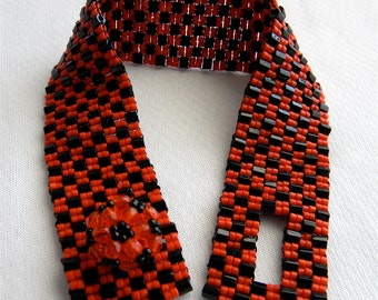 SALE Black and Orange Japanese Hex and Delica Seed Beads Peyote Stitch Bracelet, Beadwork Crystal Clasp Halloween