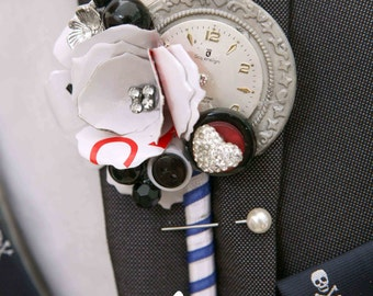 Vintage style Alice in wonderland alternative quirky buttonhole boutonnière wedding corsage shabby chic