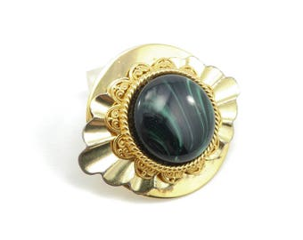 Vintage Green Lucite Brooch, Gold Tone