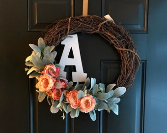 Spring Monogrammed Wreath with Peonies