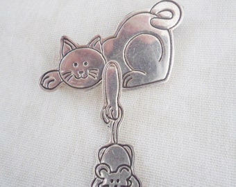 Vintage Mexico EFS Sterling Silver CAT & Mouse Pin BROOCH