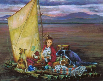 Greeting Cards, Blank Cards, Friendship, Child's Birthday Card, Animal Card,  Bon Voyage Card, Animal Art,