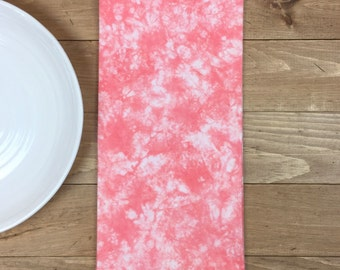 Tie Dye Tea Towel, Coral Kitchen Towel, Hand-Dyed Tea Towel, Coral Flour Sack Towel, Lint Free Towel