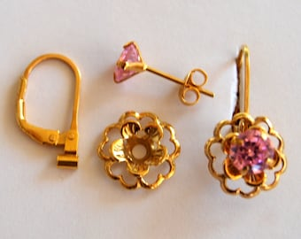 New lower price. Stunning earrings Pink CZ posts  gold  flower jacket with convertiblez