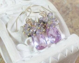 Lilac Quartz Cluster Gold Earrings