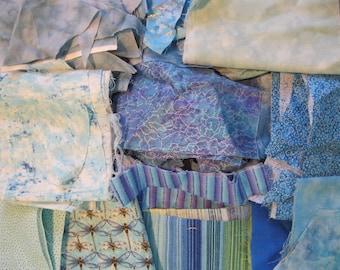 Stash-Buster Blue Cotton Quilting Fabric Scraps #2