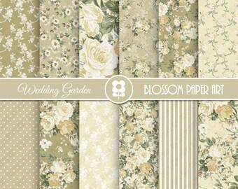 Floral Wedding Digital Paper, Floral Digital Paper Pack, Floral, Wedding Scrapbooking - INSTANT DOWNLOAD  - 1973