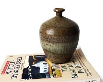Pottery Bud Vase/ Hand Thrown Glazed Stoneware Brown  Pot/ Vintage Studio Handmade MCM Craft