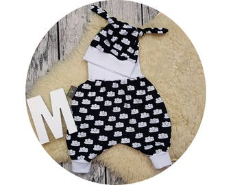 Newborn baby set, gift, bloomers, hat, node cap, harem pants, pants, baby pants, baby, Mitwachsen pants, clouds, cloud, clouds, hipster