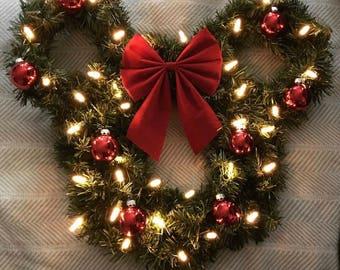 Pre-Lit Mickey Mouse Christmas Wreath