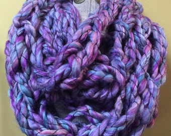 Purple-Mix Extra Bulky Knitted Infinity Scarf