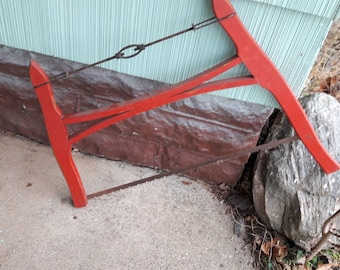 Antique Primitive Wood Buck Saw From Old-Time Farm Auction- Primitive Tool #3 e