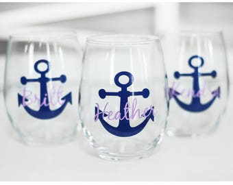 Custom wine glasses ,personalized cups, bridal shower gift, wedding gift, wedding cups, bridesmaids gift, Anchor gift