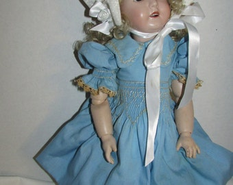 Charming Reproduction GERMAN BISQUE Doll Composition Body Beautiful Clothes