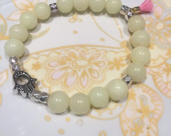 natural stone and silver beads with hamsa hand and tassel