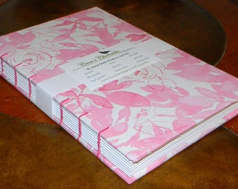 Medium Pink & White Watercolor Floral Print Fabric Covered Coptic Stitch Bound Lined Journal 6x8 inch