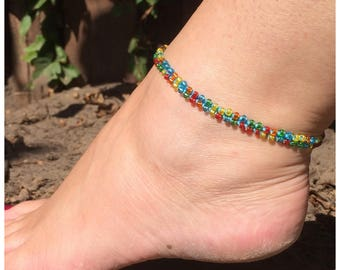 Beaded anklet, multi colour anklet, crochet, bohochic jewelry, beach jewelry, ibiza style, gypsy, hippie style, bohemian anklets