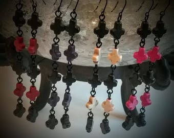 DESICRATION Gothic Tiny Howlite Inverted Crosses Black Purple Red Pink Orange Satanic Gemstone Cross Earrings
