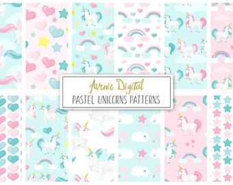 Pastel Unicorns Digital Paper. Scrapbook Backgrounds, Cute unicorns seamless vector patterns, rainbow, horses, pink and blue.