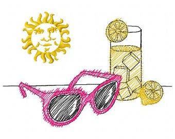 Lemonade Embroidery Design - Instant Download