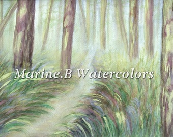Watercolor Forest / Nature Art Print 8 x 10 in