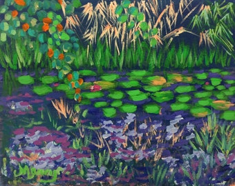 "Original Acrylic Painting, ""Enchanting Water Garden"", 11""x14"""